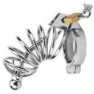 Impound Corkscrew Male Chastity Cage with Urethral Sound
