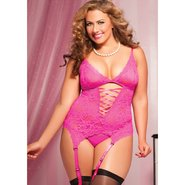 Plus Size Seven Til Midnight Midnight Affair Pink Lace Cami