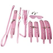 Dare Pink Faux Leather Furry Eight Piece Bondage Set