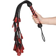 Lair Red and Black Leather Rose Flogger – 28.5 Inch