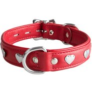 Lair Red Leather Studded Heart Collar