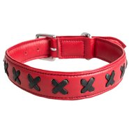 Lair Red and Black Leather Cross Collar