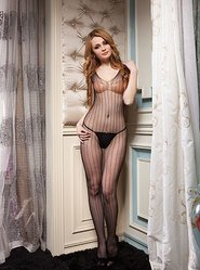 Pin Striped V Neck Crotchless Bodystocking