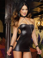 Dreamgirl Wet Look Buckle Back Mini Dress with Collar & Wrist Restraints