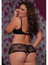 Seven Til Midnight Plus Size Open Back Lace Up Knickers