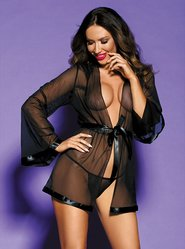 Bondara Black Sheer Robe and Thong