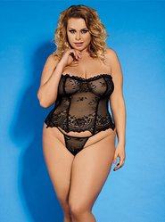 Bondara Plus Size Black Ruffle Hem Corset and Thong