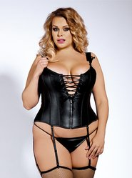 Bondara Plus Size Wet Look Corset