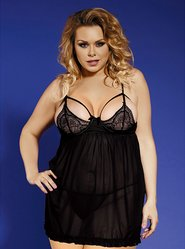 Bondara Plus Size Lace Cup Babydoll and G-String