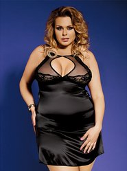 Bondara Plus Size Satin Keyhole Babydoll and Thong