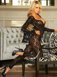 Hustler Long Sleeve Crotchless Bodystocking