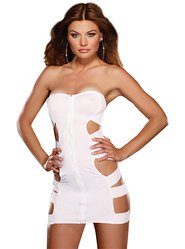Dreamgirl White Cut-Out Zip Front Strapless Dress