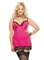 Dreamgirl Plus Size Hot Pink Lace Hem Sheer Panel Chemise