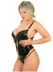 Black PVC and Lace Body