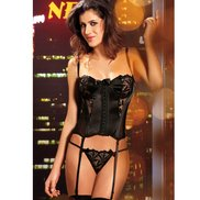 Bondara Black Sheer and Sculpting Basque and G-String