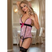 Bondara Pink Lace Suspender Cami and Stockings Set