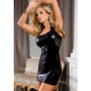 Bondara Wet Look and Mesh Halterneck Mini Dress