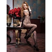 Floral Stamp Crotchless Lace Bodystocking