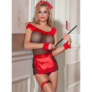 Bondara Racy Red Six Piece Maid Lingerie Set