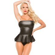 Wet Look Strapless Peplum Top