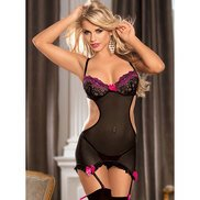 Bondara Cut Out Chemise with Stockings