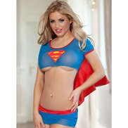 Bondara Sexy Superhero Crop Top Costume Set