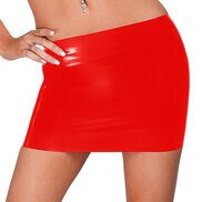 Bondara Latex Red Mini Skirt