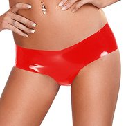 Bondara Crotchless Latex Red Hot Pants