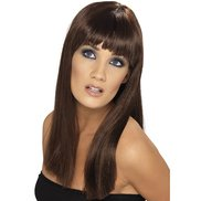 Elegant Long Brown Wig with Full Fringe