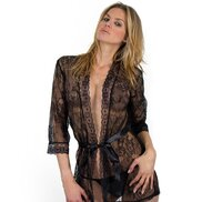 Bondara Black Lace Tie Up Robe