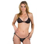 Bondara Black Sheer Tie Up Bikini
