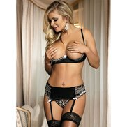 Bondara Flirt Infatuation Shelf Bra, Suspender Belt and G-String