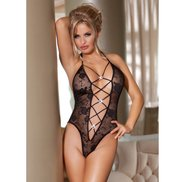 Bondara Flirt Black Lace Deep Plunge Body
