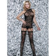 Bondara Flirt Spiral Suspender Bodystocking and G-String