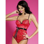 Bondara Ruby Red Lace Teddy With Open Back