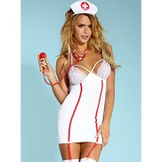 Bondara Flirt Lace Naughty Nurse Five Piece Costume
