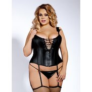 Bondara Belle Plus Size Wet Look Corset, Thong and Stockings