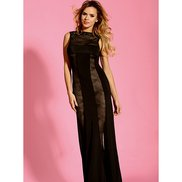 Bondara Belle Plus Size Lace Panel Maxi Dress