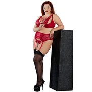 Plus Size Red Two-Look Bra, Suspender Belt and Crotchless Thong