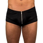 Bondara Zip Detail Black Boxer Shorts