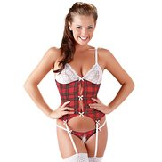 Cottelli Collection Tartan Basque and G-String Set