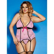 Bondara Plus Size Pink Lace Suspender Cami, Thong and Stockings