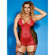 Bondara Plus Size Lace Detail Chemise, Thong and Stockings