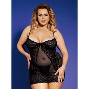 Bondara Plus Size Lace and Cage Detail Babydoll and Thong