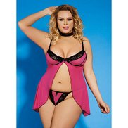 Bondara Plus Size Pink Open Babydoll, Necklace and Thong