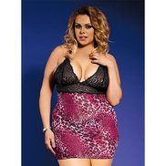 Bondara Plus Size Animal Print Dress and G-String