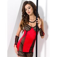 Passion Red Panel Lace Chemise