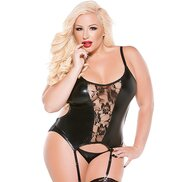 Kitten Plus Lace and Wet Look Open Back Corset
