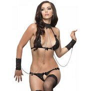 Leg Avenue Three-Piece Black Lace and Chain Set