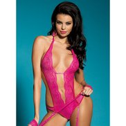Bondara Pink Lace Deep Plunge Teddy, Stockings and Lace Cuffs